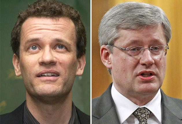 Yann Martel has been rebuffed by the Prime Minister of Canada, Stephen Harper, right