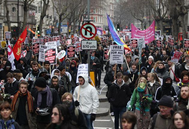 Students protest the government's cuts in January