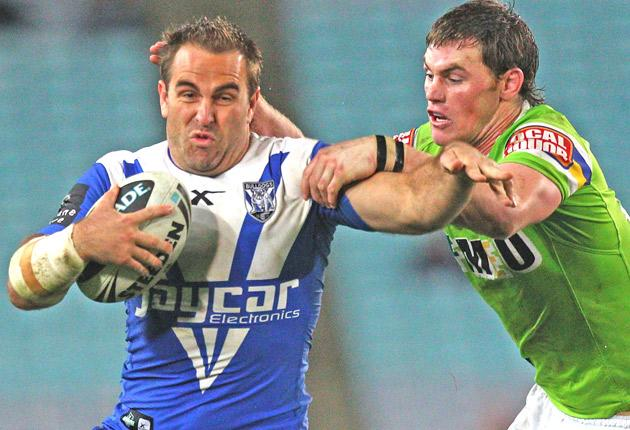Ryan Tandy, left, in action for the Canterbury Bulldogs last year