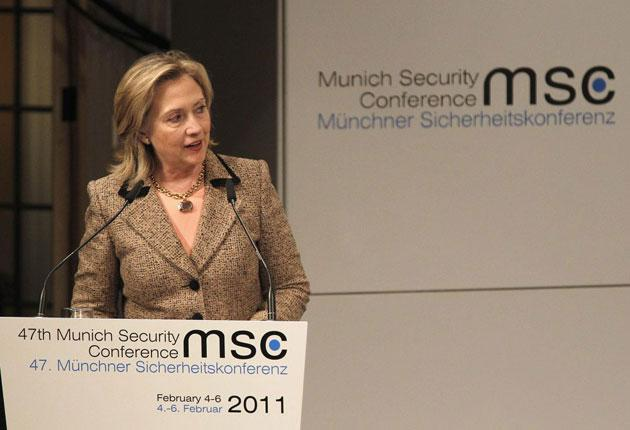 US Secretary of State Hillary Rodham Clinton delivers her speech during the Conference on Security Policy in Munich