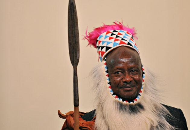 President Yoweri Museveni in traditional Tororo dress at the Ugandan king's coronation last year