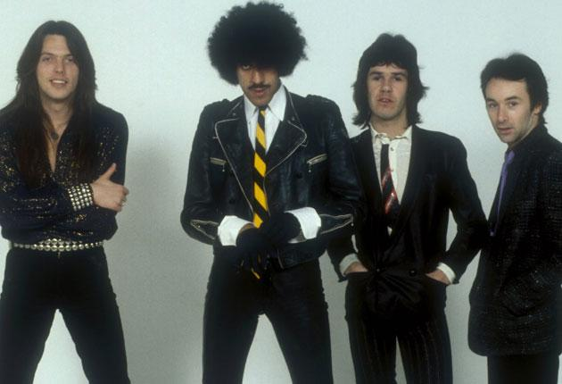 Thin Lizzy were, left to right, Scott Gorham, Phil Lynott, Gary Moore and Brian Downey