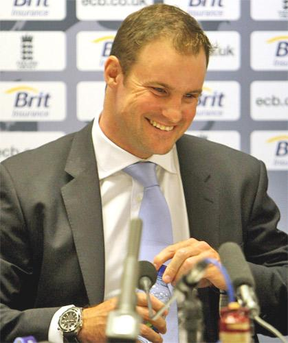 Andrew Strauss talks to the media on his return to England yesterday