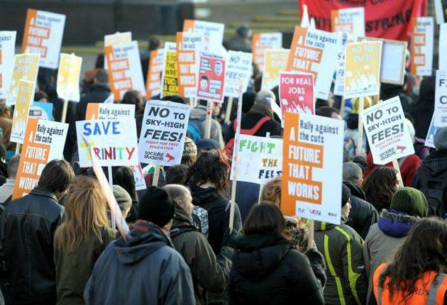 Protests against tuition fee rises. Subsidies are being introduced to help disadvantaged students