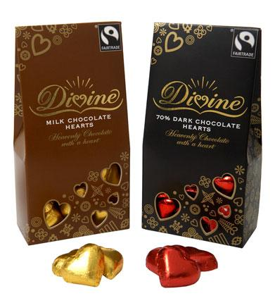 Tcik all the Valentine's boxes with Divine chocolate hearts: chocolate AND hearts!