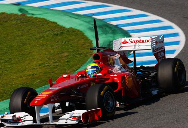 Ferrari's Felipe Massa set the fastest time in testing at Jerez yesterday. The Italian team have renamed their car the F150th Italia to avoid a dispute with Ford