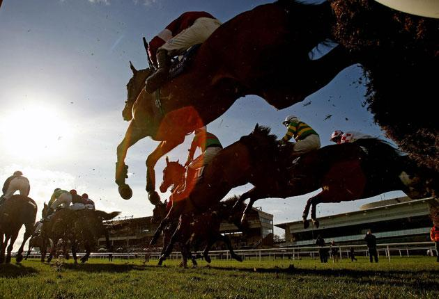 Runners and riders in action in the Juvenile Hurdle on Hennessy Gold Cup Day at Leopardstown
