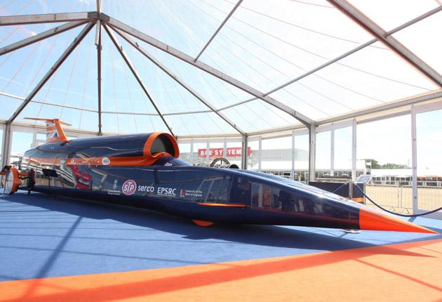 A model of the Bloodhound supersonic car, which went into production last week