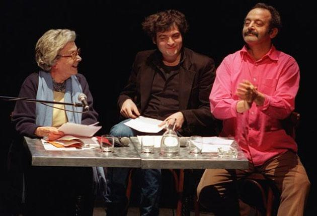 Chedid with her grandson and son, the singers Matthieu, or 'M', and Louis Chedid
