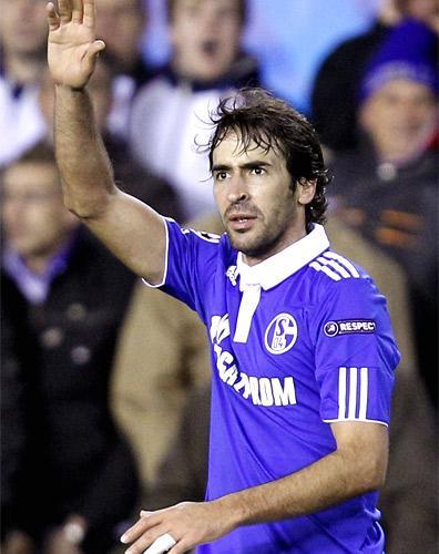 Raul celebrates scoring Schalke's equaliser against Valencia last night