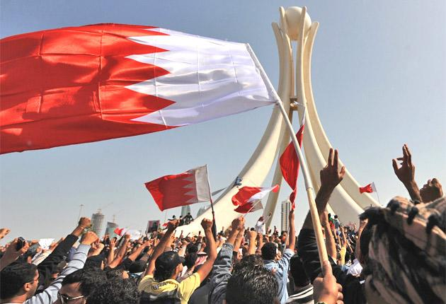 Protesters campaign in Manama in Bahrain yesterday