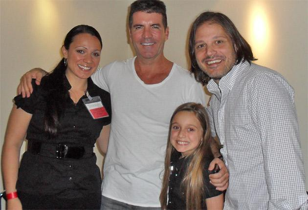 Heather Russell with her mother, Rob Fusari and Simon Cowell