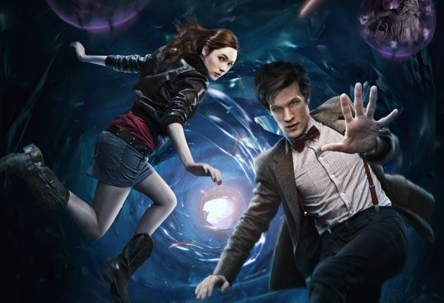 The eleventh doctor played by Matt Smith and Karen Gillan as his companion Amy Pond