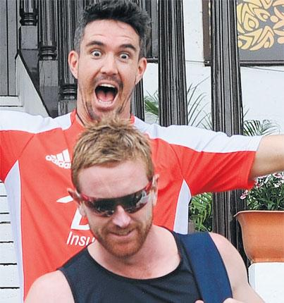 Kevin Pietersen and Paul Collingwood are in high spirits ahead of today's opening match against the Netherlands