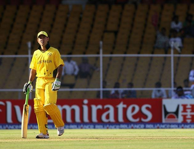Ponting leaves the field yesterday