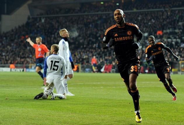 Nicolas Anelka wheels away in triumph after scoring the first of his two goals for Chelsea in Copenhagen last night