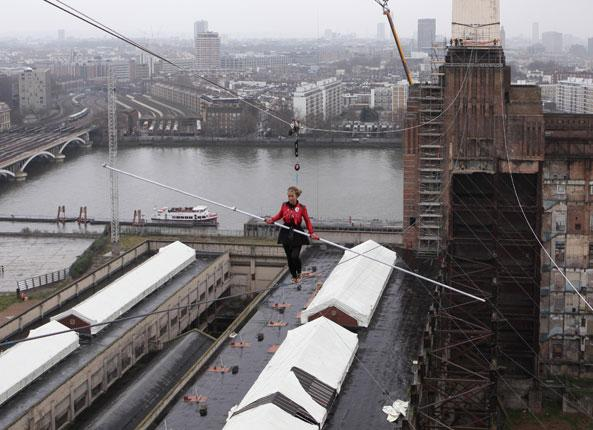 Blue Peter's Helen Skelton defies gravity above Battersea