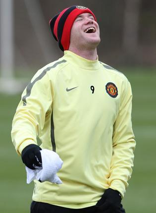 Wayne Rooney enjoys himself in training yesterday ahead of tonight's game against Chelsea