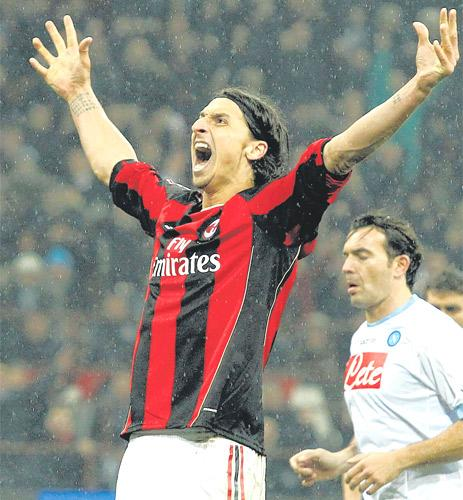 Milan's Zlatan Ibrahimovic celebrates scoring against Napoli on Monday