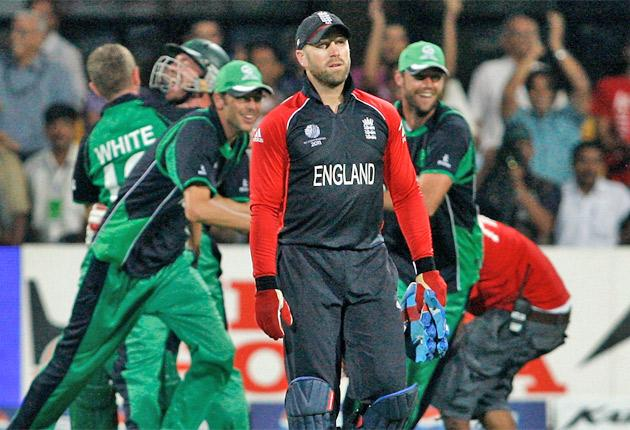 Matt Prior shows his dejection following England's defeat at the hands of Ireland