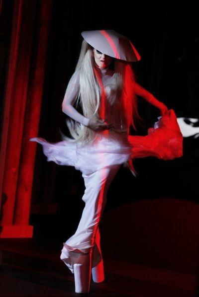 Lady Gaga at the Mugler show, styled by Nicola Formichetti
