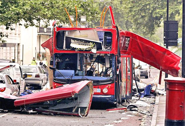The number 30 double-decker bus in Tavistock Square, which was destroyed by a terrorist bomb