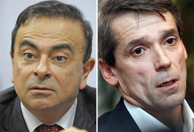 Accuser and accused: Carlos Ghosn, left, who was heavily criticised over the 'spying' affair, and Bertrand Rochette, right