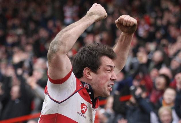 Gloucester wing Tom Voyce celebrates his second try against Bath