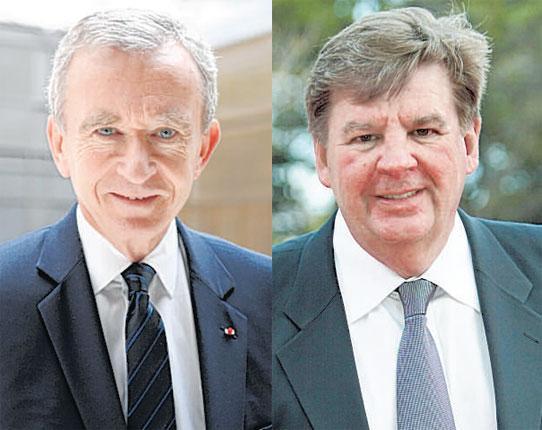 Bernard Arnault, left, and Johann Rupert - two tycoons vying for supremacy