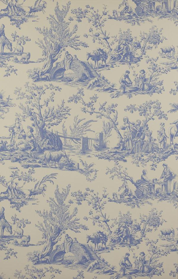 Liven up white sheets with a bolder wallpaper, such as the pale-blue Manuel Canovas design at Colefax and Fowler, manuelcanovas.com