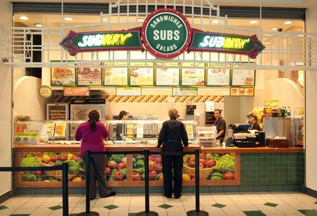 A Subway in a Washington DC shopping mall awaits the lunchtime rush