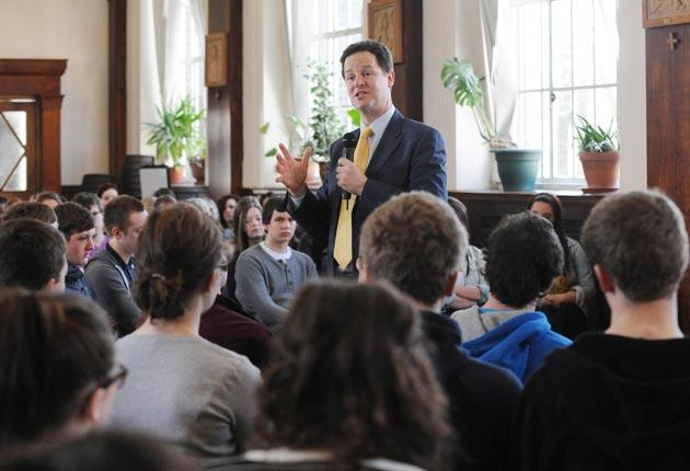Nick Clegg takes part in a question and answer session with sixth-form students in Sheffield yesterday