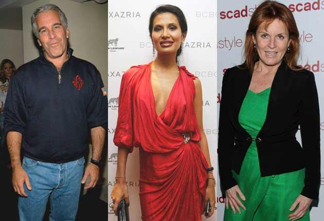 Prince Andrew's circle, from left to right: Jeffrey Epstein, Goga Ashkenazi, and the Duchess of York, his ex-wife