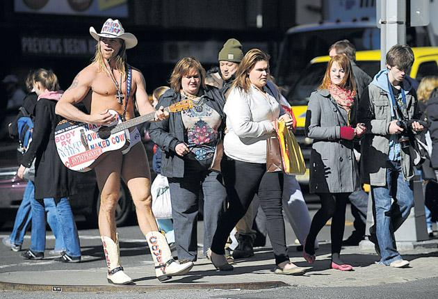 Will the more clement weather entice the Naked Cowboy out of his winter hibernation?