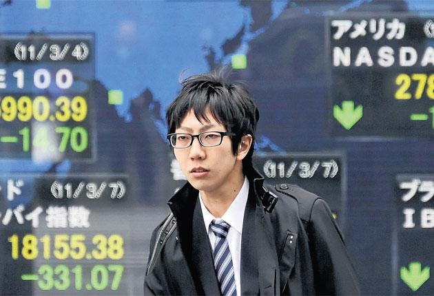 Japan's Nikkei index fell 6 per cent yesterday over fears of impending nuclear disaster