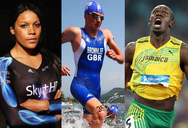 Left to right: Shanaze Reade, Alistair Brownlee and Usain Bolt