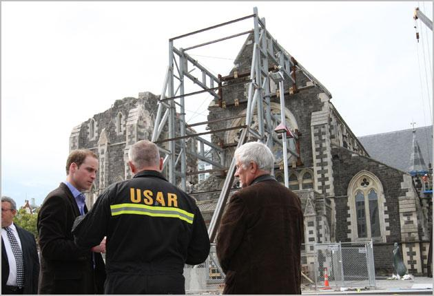 Prince William looks at the destruction at the Christchurch Cathedral