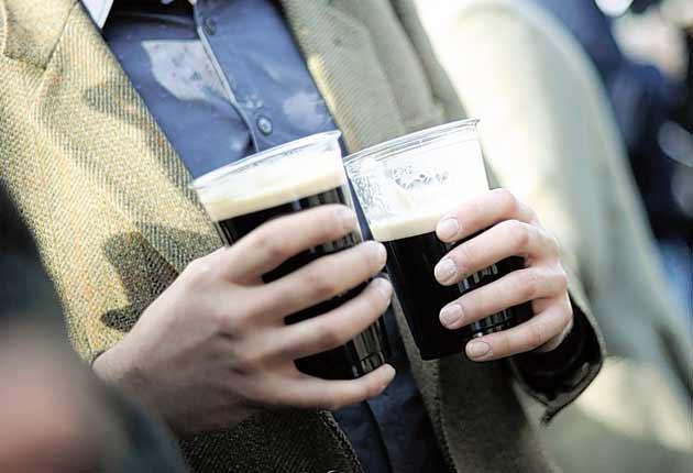 The Guinness flows at the Cheltenham Festival yesterday