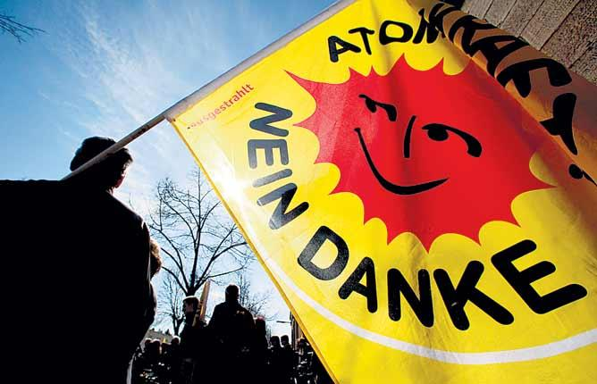 A protest after the Japanese nuclear plant disaster: the anti-nukes seem to be winning the argument in Germany