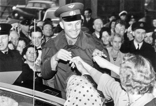 Yuri Gagarin is greeted by a crowd during his visit to Manchester in 1961