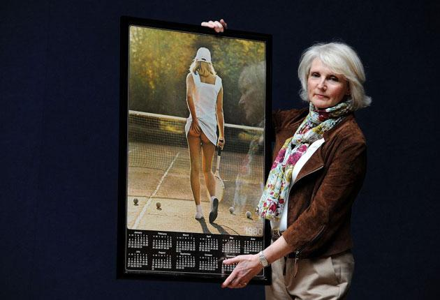 Fiona Walker, 53, poses with a picture of herself as the eighteen year-old 'Athena tennis poster girl'