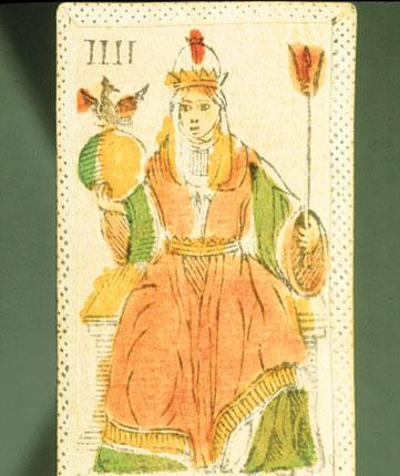 In with a prayer: An image of Joan the female pontiff from a pack of tarot cards