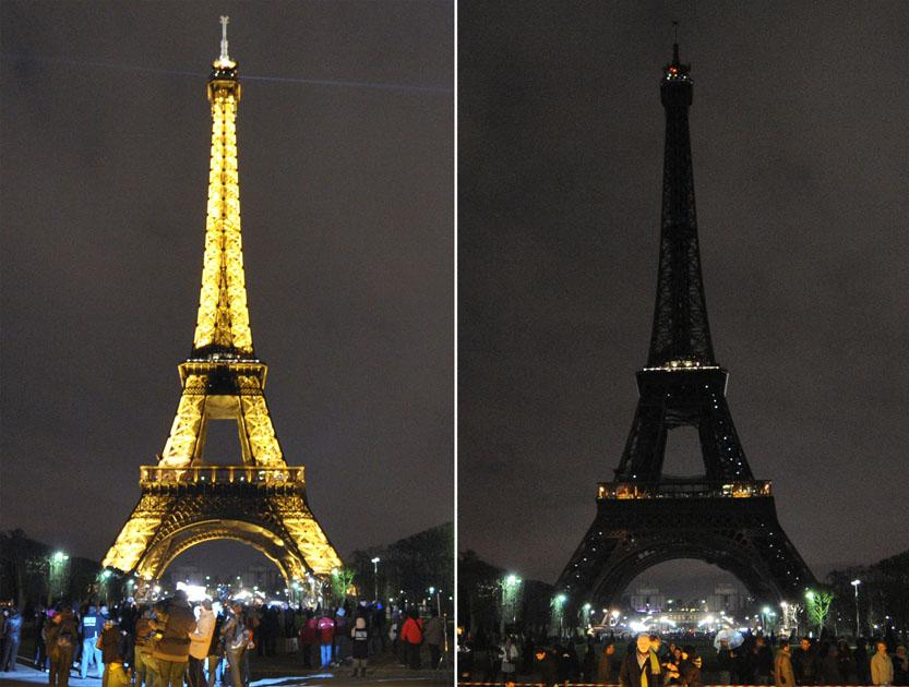 A combo shows the Eiffel tower submerging into darkness in Paris as part of the Earth Hour switch-off last year.