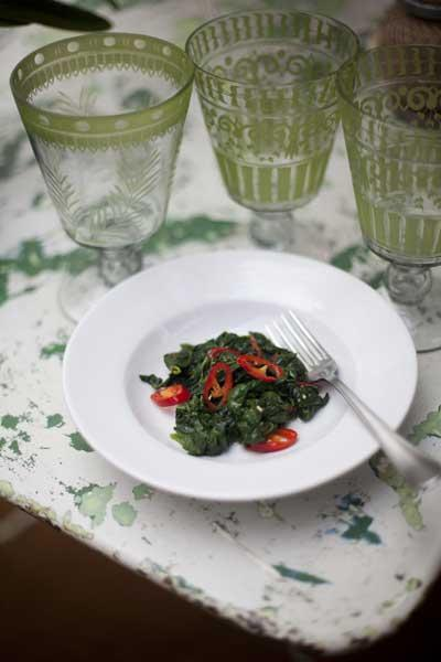 Serve spinach with red chilli with a little roasted quail or grilled halibut