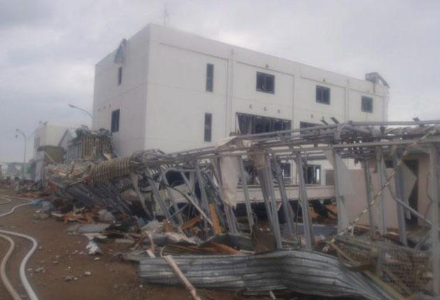 A destroyed building at the Fukushima nuclear plant