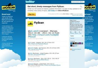 The new FlyScan Twitter search service from Skyscanner