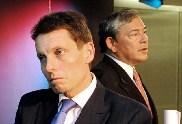 Andy Hornby, left, and Eric Daniels of Lloyds working on the 2008 deal to save HBOS