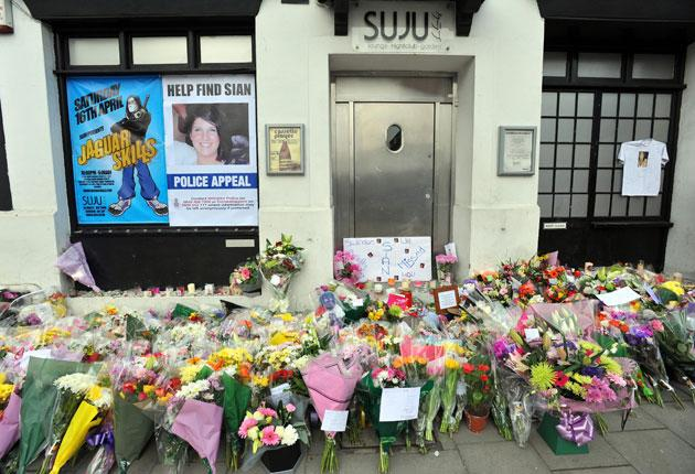 Floral tributes were laid outside the Swindon club where Sian O'Callaghan was last seen