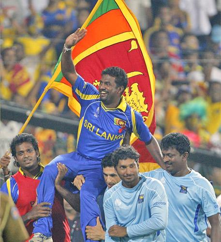 Sri Lanka's Muttiah Muralitharan is carried on the shoulders of his team-mates after helping secure a World Cup final place in his last match on home soil