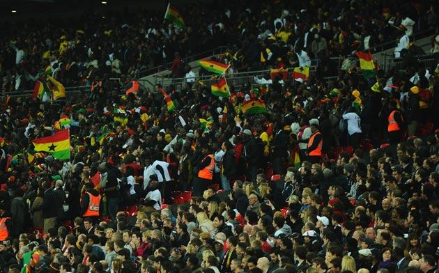 The Ghana fans booed Welbeck's arrival